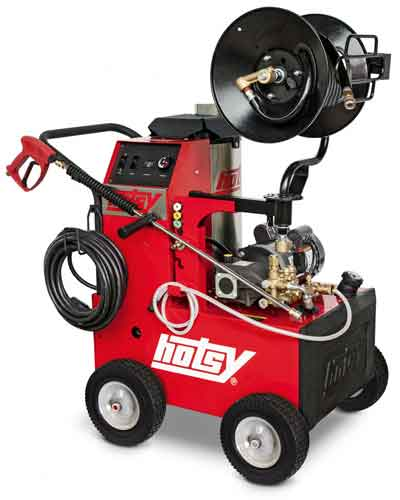Hotsy 555HE Hot Water Pressure Washer with Hose Reel Kit